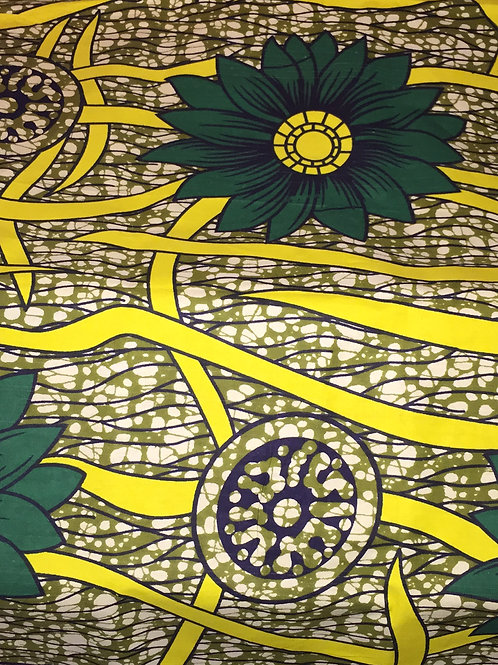 """""""Green Pastures"""" Green & Yellow African Print Head Wrap"""