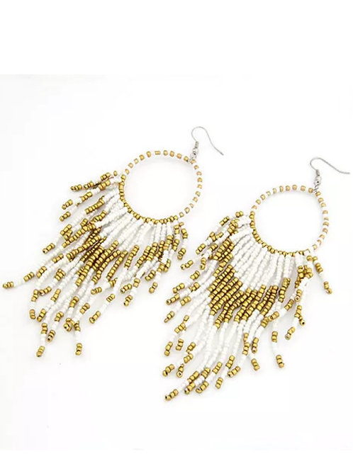 """""""White & Gold Sizzle""""  Beaded Earrings"""