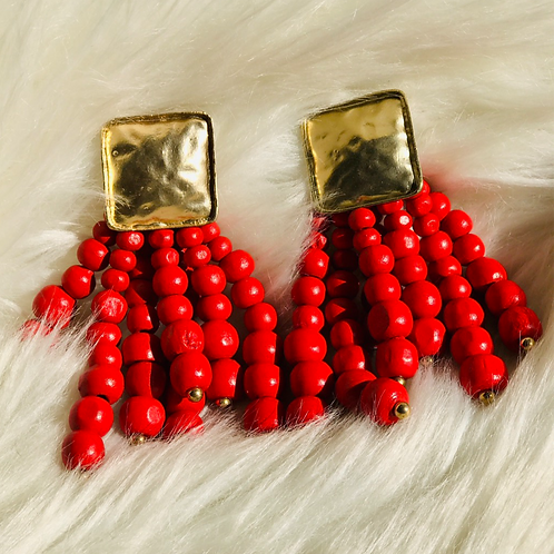 """Woodlands"" Earrings in Trendsetter Delicious Red"