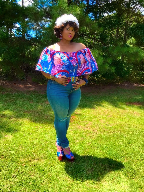 """Raspberry & Denim Blue"" Rushed Butterfly Ankara Blouse Top"