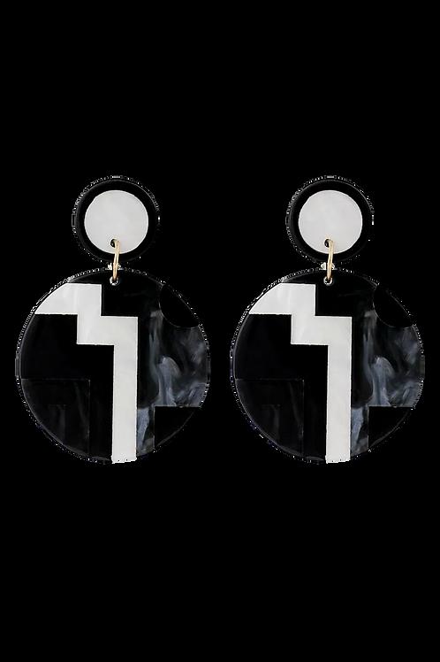 """Mosaic Mod"" Black Acrylic Earrings"
