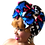 Thumbnail: African Print Headwrap in Sacred Geometry/Hot Pink, Blue, White, Black