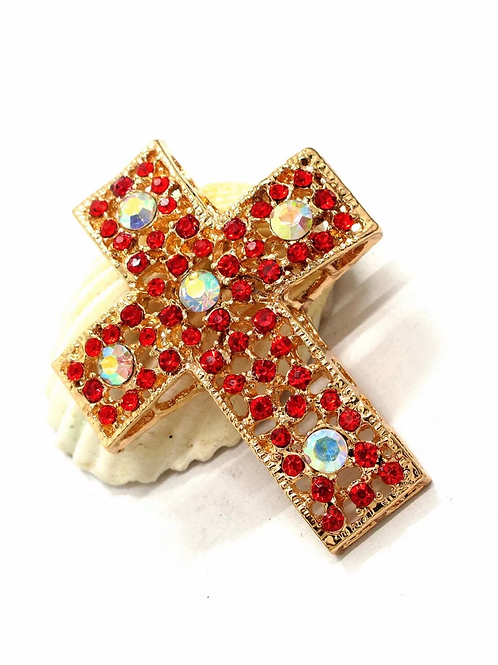 """At the Cross"" Red Rhinestone Brooch"