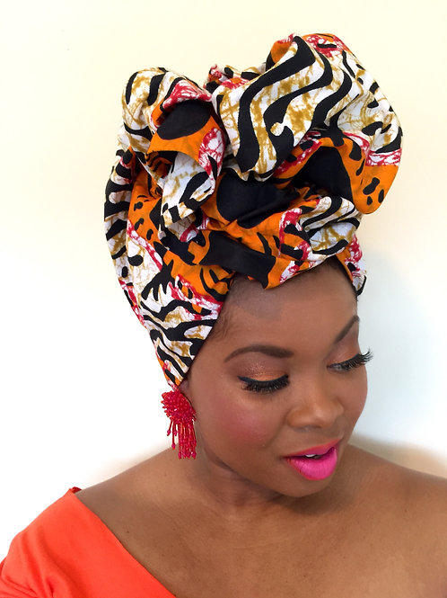 """Fire"" Red, Orange, Black, Khaki African Print Head Wrap"