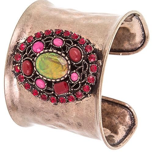 """""""Antique"""" Fuchsia Cuff Bracelet"""