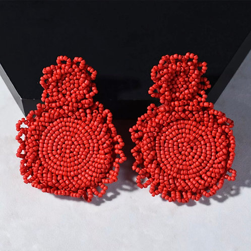 "Chili Red""Circumference"" Beaded Earrings"
