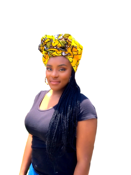"""Light"" Yellow & Brown African Print Head-wrap"