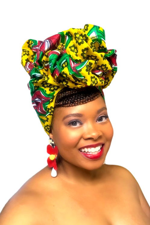 """Full Bloom"" African Print Head Wrap Red, Brown, Green, & Gold"