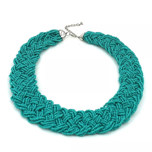 """""""Tropical Blue"""" Beaded Glam Necklace"""