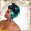 Thumbnail: Blue & Green Mermaid Two-Toned Stretch Sequin Head Wrap
