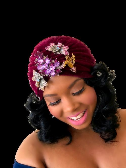 """""""Velvet Glam""""Cranberry Turban"""