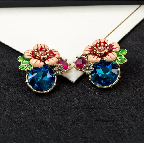 """""""Give Me Flowers"""" Blue Studs"""
