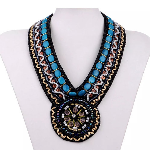 """""""Beaded & Pearled"""" Bib Necklace"""