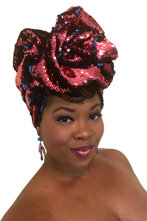 """""""Pink & Blue"""" Stretch Sequin Head Wrap"""