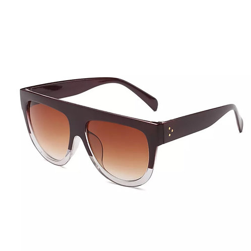 """Flat Top Cutie"" Sunglasses Deep Maroon, Clear Bottom"
