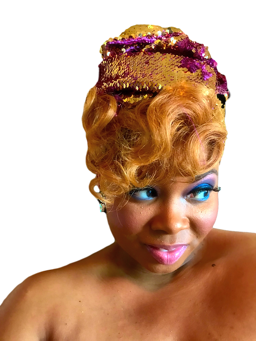 """""""Pink & Gold"""" Stretch Sequin Head Wrap"""