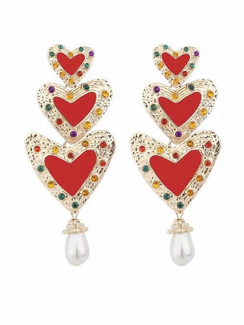 """Layered Hearts"" Dangle Earrings"