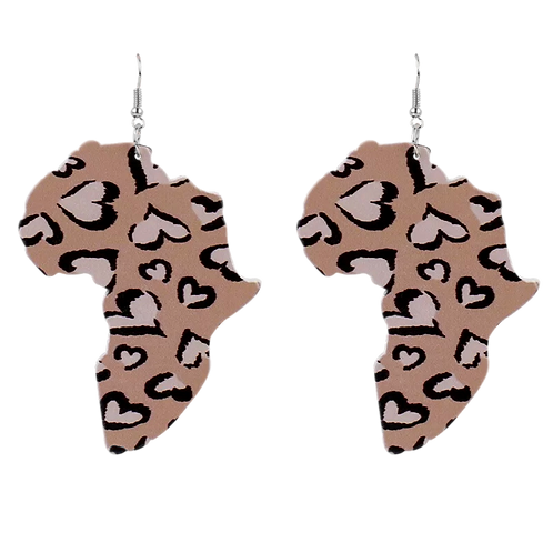 """""""Heart of Africa"""" Wooden Hook Earrings"""