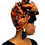 """Thumbnail: """"Orchard"""" Orange & Denim Blue Embroidered African Print Headwrap"""