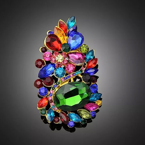 """""""Global Cluster"""" Extra Large Colorful Rhinestone Brooch"""