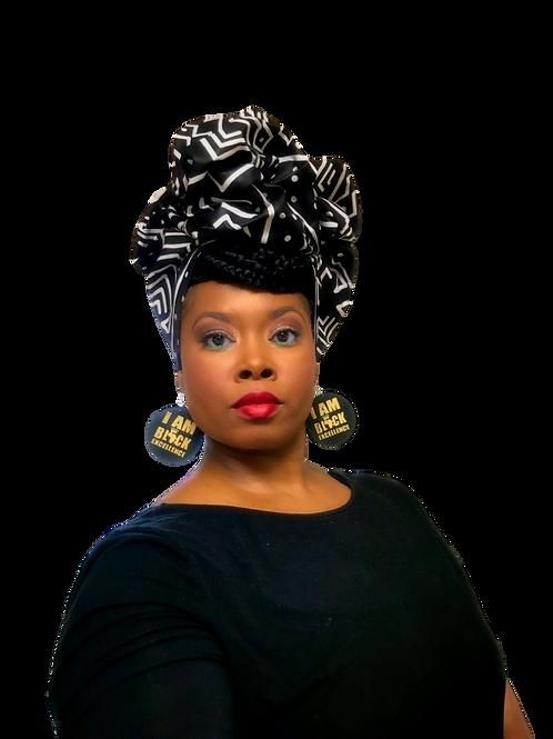 """Tribal"" Black & White African Print Head Wrap"