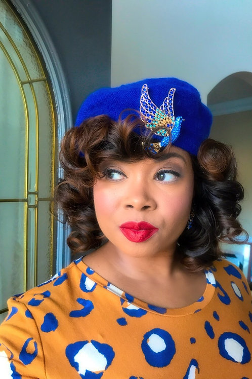 """French Beret"" Jeweled Beret in  Royal Blue Dove"