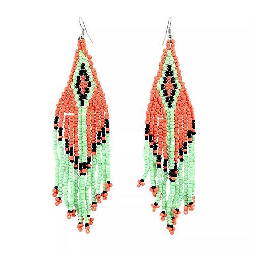 """""""Tangerine"""" Seed Bead  Hook Earrings"""