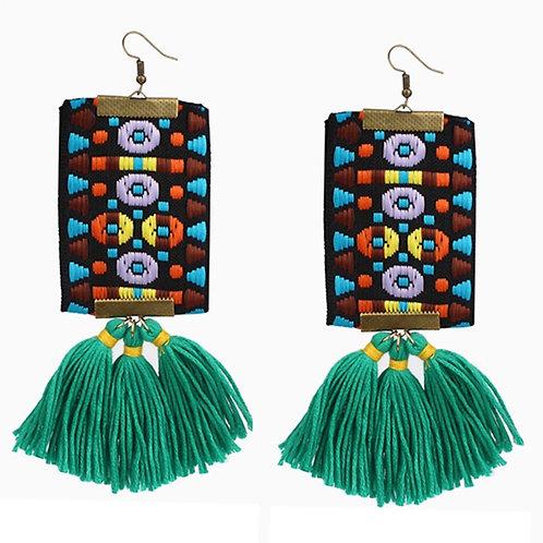 """""""Mosaic""""  Tassel Earrings """"Green"""""""