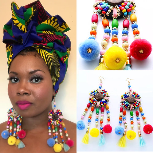 """""""Lioness"""" Multicolored Layered Earrings"""