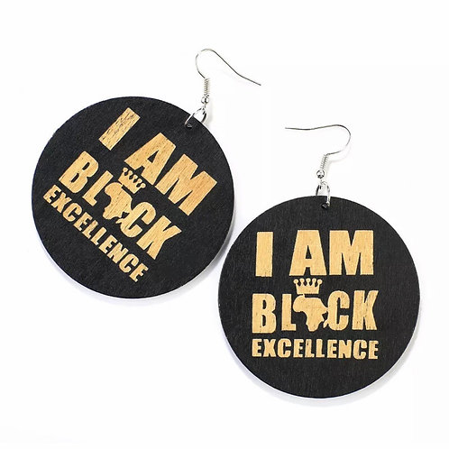 """Black Excellence"" Wooden Hook Earrings"