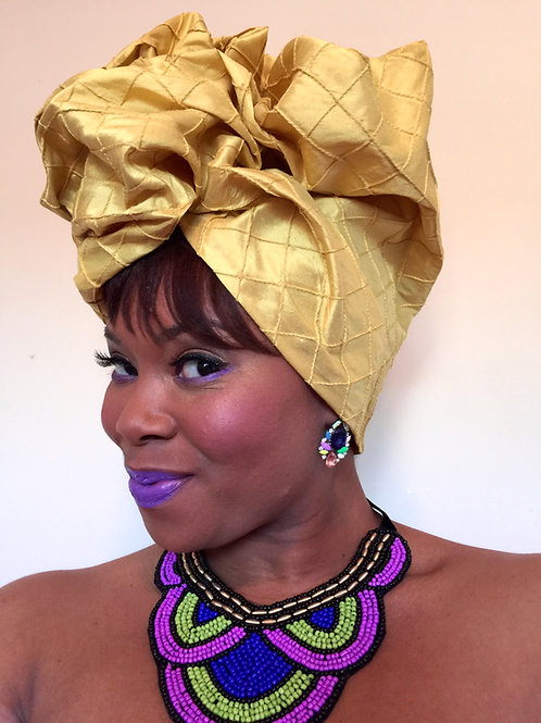 """Yellow Gold"" Silk Head Wrap"