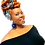 "Thumbnail: ""Red Peacock"" African Print Headwrap"