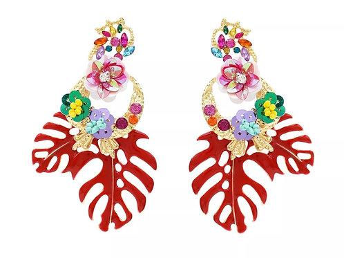 """Be Leaf"" Red Cluster Dangle  Earrings"