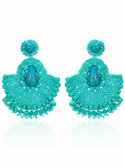 """Greatest Inspiration"" Turquoise Beaded Earrings"