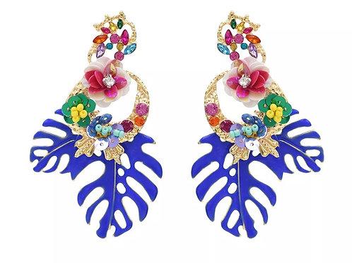 """Be Leaf"" Royal Cluster Dangle  Earrings"