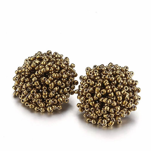 "Beaded Button ""Bronze Gold"" Earrings"