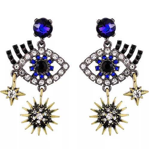 """Watchful Eye"" Luxe Rhinestone Earrings"