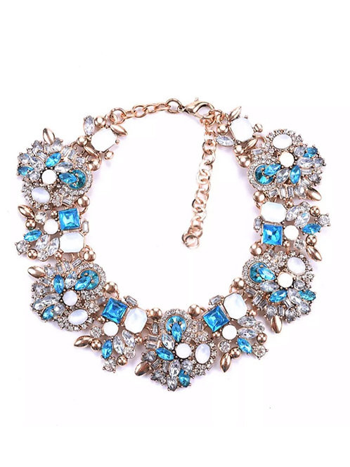 """Victorious"" Sea Blue Luxe Glam Necklace"