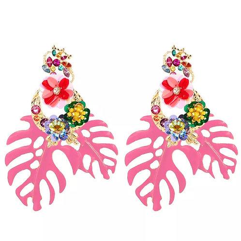 """Be Leaf ""Baby Pink"" Cluster Dangle  Earrings"