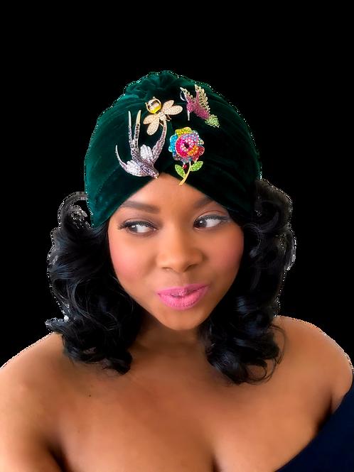"""""""Velvet Glam"""" Winter's Green Turban"""