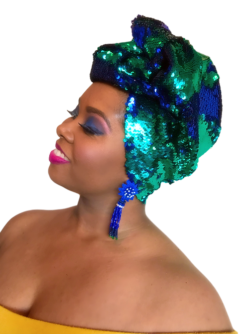 Blue & Green Mermaid Two-Toned Stretch Sequin Head Wrap