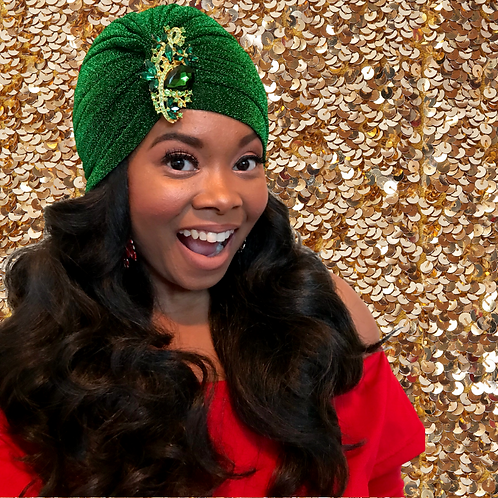 """""""Holiday"""" Green Turban with Coordinating Brooch"""