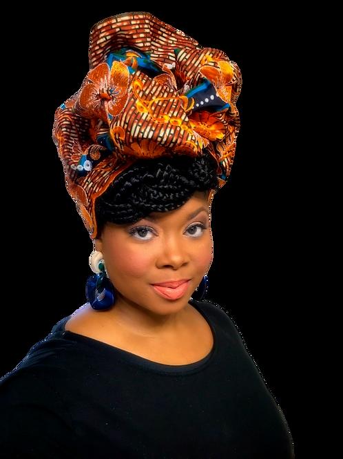"""Orchard"" Orange & Denim Blue Embroidered African Print Headwrap"