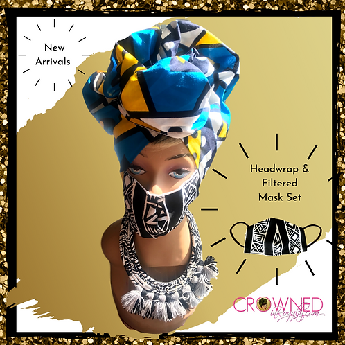 Blue Samakaka Headwrap & Mask Set