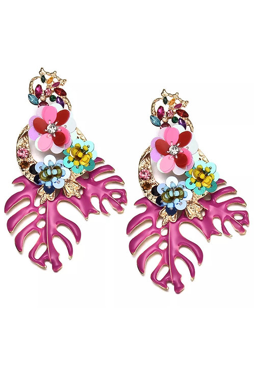 """Be Leaf"" Pink Cluster Dangle  Earrings"
