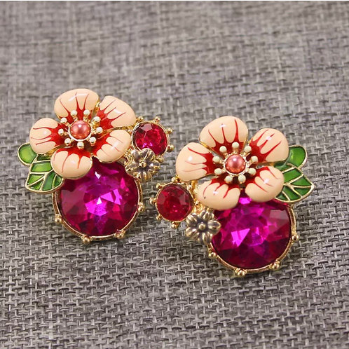 """""""Give Me Flowers"""" Pink Studs"""
