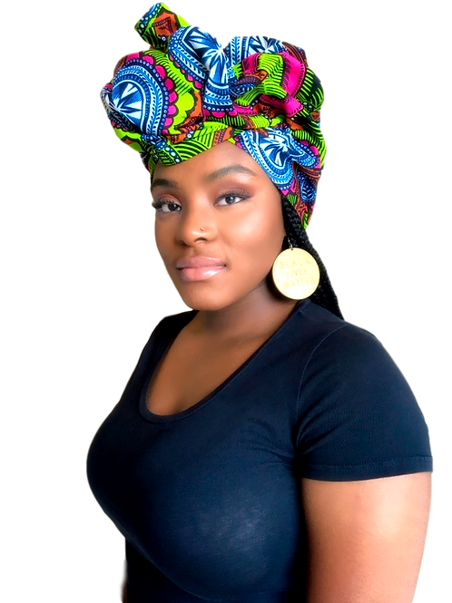 """Mirrors"" Pink & Green African Print Headwrap"