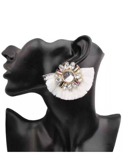"""""""Pure White"""" Fringe Earrings"""