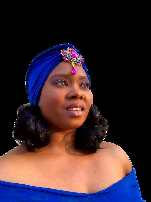 """Royal Splendor"" Vivid Blue Turban"