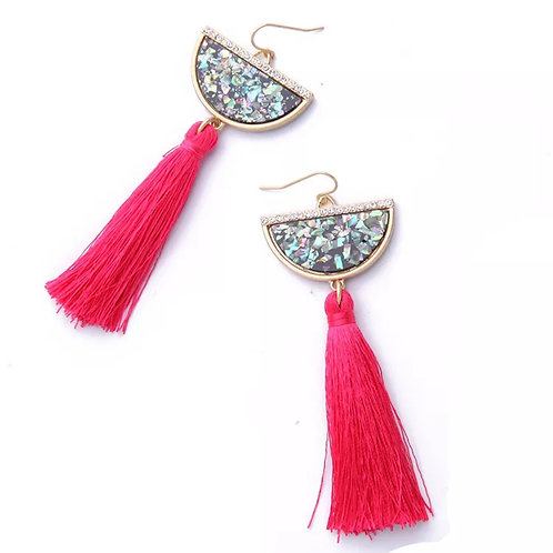 """Half Moon"" Glam Tassell Earrings"